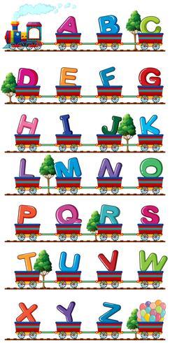Il treno trasporta alfabeti inglesi