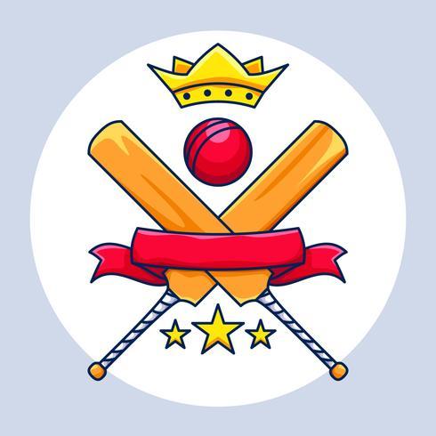cricket mästerskap med krona, banner och stjärnor