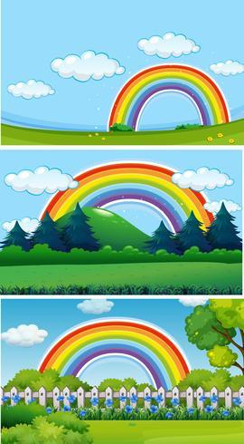 Tre parkbilder med regnbåge