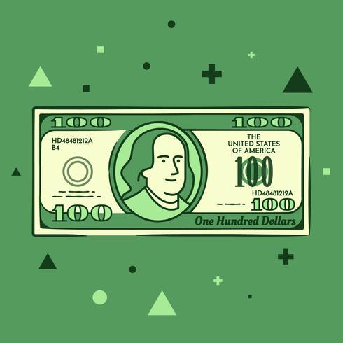 Tecknade Hand Drawn 100 Dollar Bill Illustration