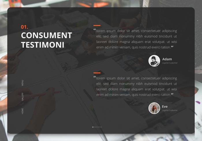 Anteprima UI di Testimonial Design. Consument Testimoni, Client Review.