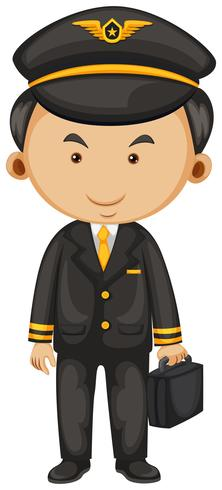 Pilota in abito nero e valigetta