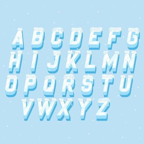 Icicles italic alphabet Insieme di elementi di lettering congelati vettore
