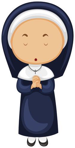 Nonne im blauen Outfit