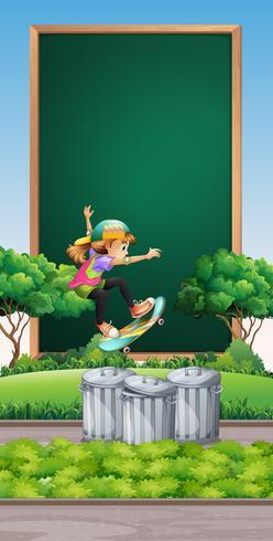 Frame template with girl on skateboard