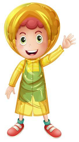 Menino, em, amarela, raincoat