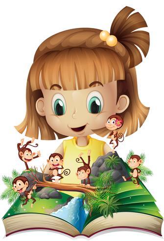 Kleines Mädchen und Buch von Affen im Dschungel