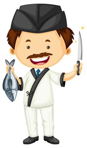 Sushi kock med fisk och kniv