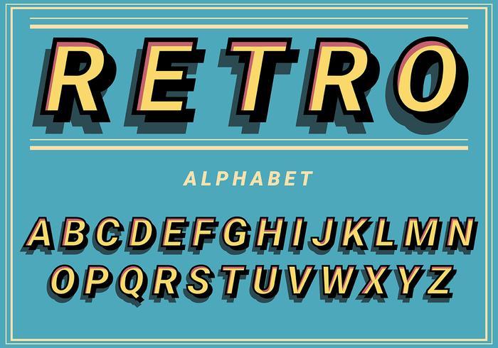 Retro alfabet op blauwe achtergrond