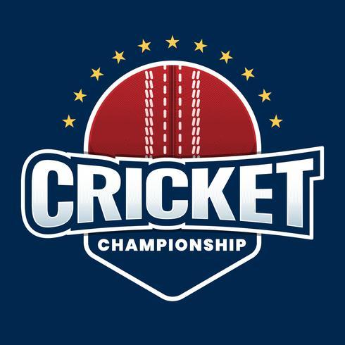 Cricket League Creative Sticker Label Design Concept