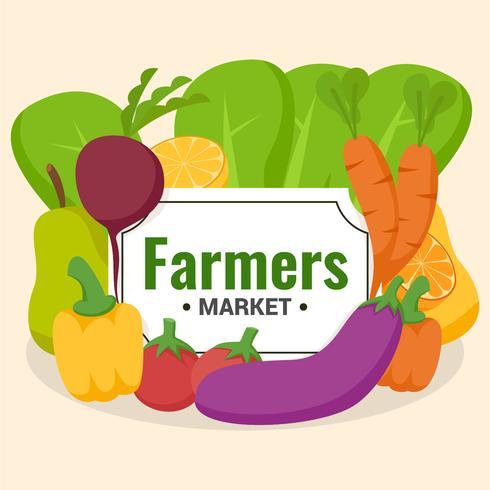 Grupo de verduras volante de diseño del mercado de agricultores.