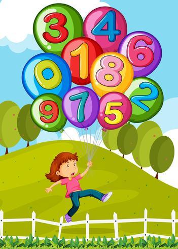 Ballonger med nummer och liten tjej i parken