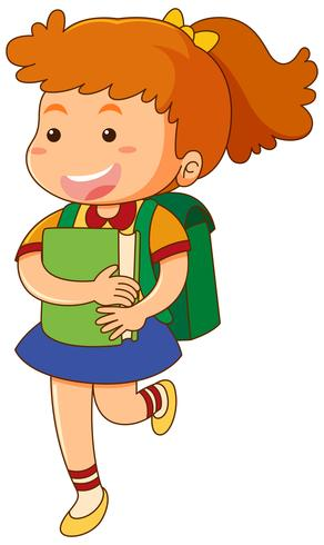 Scuola ragazza con libro e zainetto
