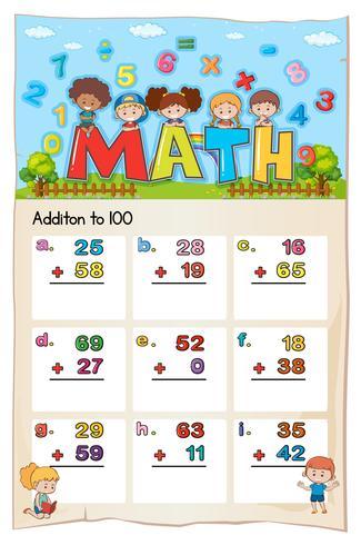 Diseño de la hoja de trabajo de matemáticas para la suma de 100 vector