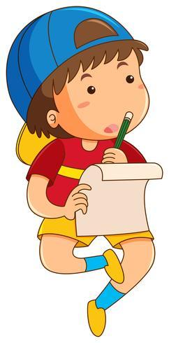 Junge, der alleine Hausaufgaben macht
