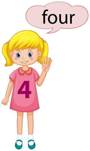 Mädchen mit Handzeichen der Nr. Vier