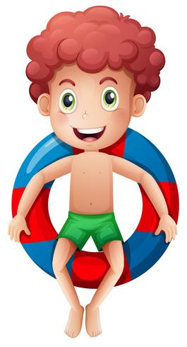 A boy on inflatable ring