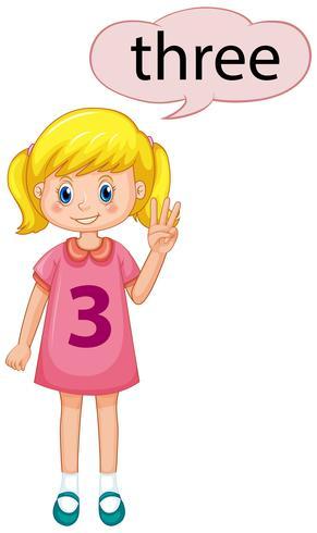 Meisje dat nummer drie toont