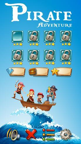 Spelmalplaatje met piratenavontuurthema