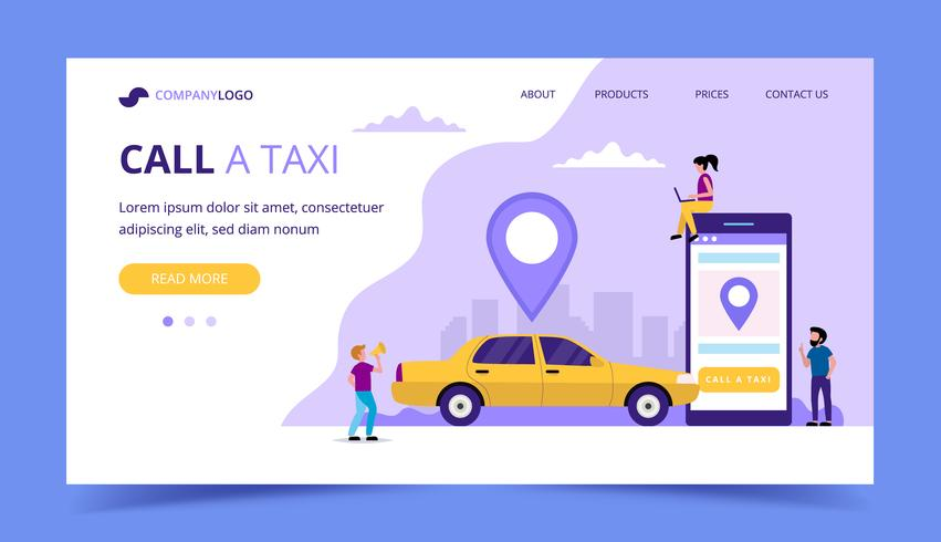 Call a taxi landing page. Concept illustration with taxi car a smartphone, small people characters.