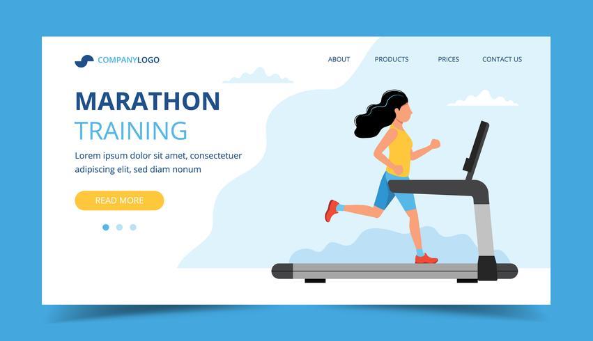 Ejecutando plantilla de página de destino. Mujer que corre en la cinta. Ilustración para maratón, carrera de ciudad, entrenamiento, cardio.