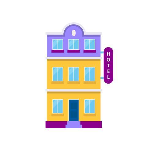 Edificio del hotel, ilustración vectorial aislado en estilo plano ...