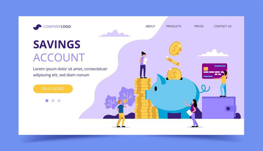 Spara pengar målsida - illustration med små människor som utför olika uppgifter, spargris, plånbok, kreditkort.
