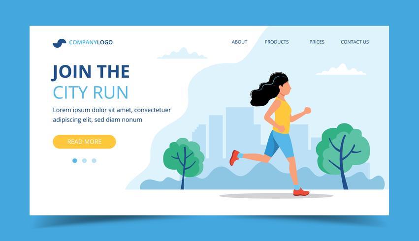 Running landing page template. Woman running in the park. Illustration for marathon, city run, training, cardio.
