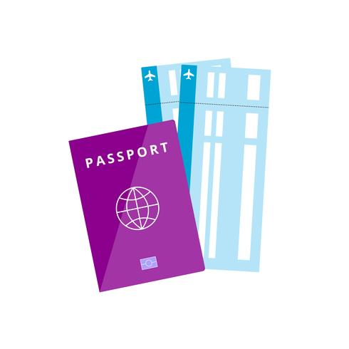 Passport and tickets, isolated vector illustration in flat style, icon for booking, travel, holidays. Vector