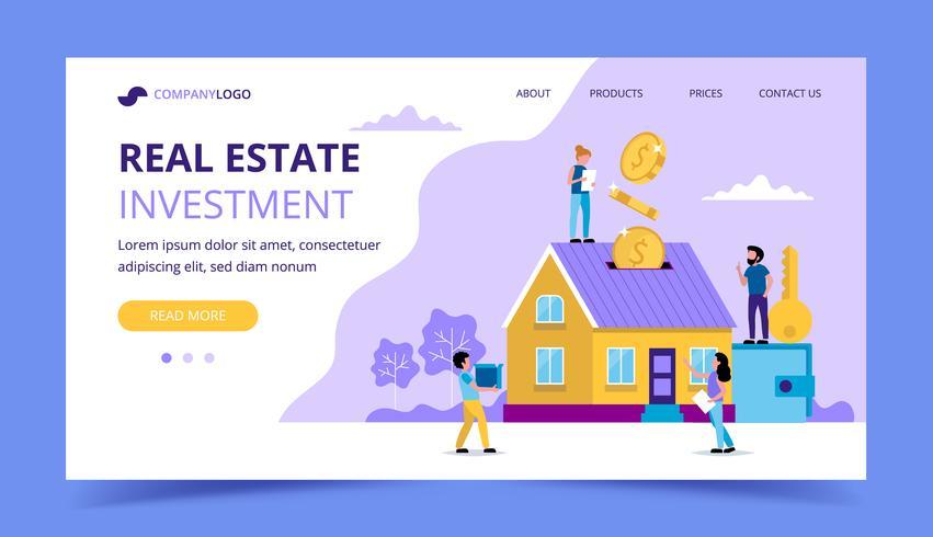 Página de destino de investimento imobiliário - ilustração do conceito para investir, comprando casa, moedas caindo em casa