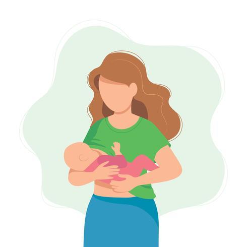 Ilustração de amamentação, mãe alimentando um bebê com o peito. Ilustração do conceito