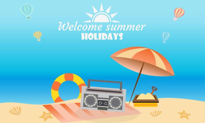 Vector de concepto de actividad de playa de verano, bienvenido a vacaciones verano