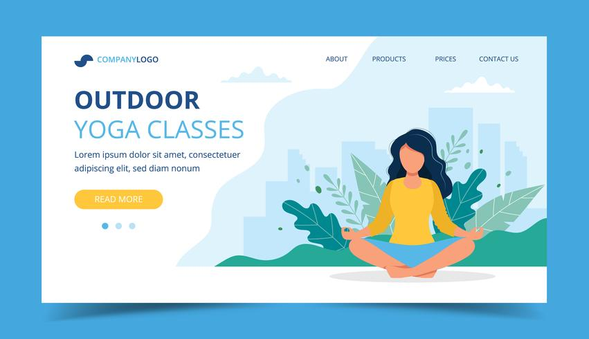 Woman Doing Yoga In The Park Landing Page Concept Illustration For Healthy Lifestyle Yoga Classes Exercising Download Free Vectors Clipart Graphics Vector Art