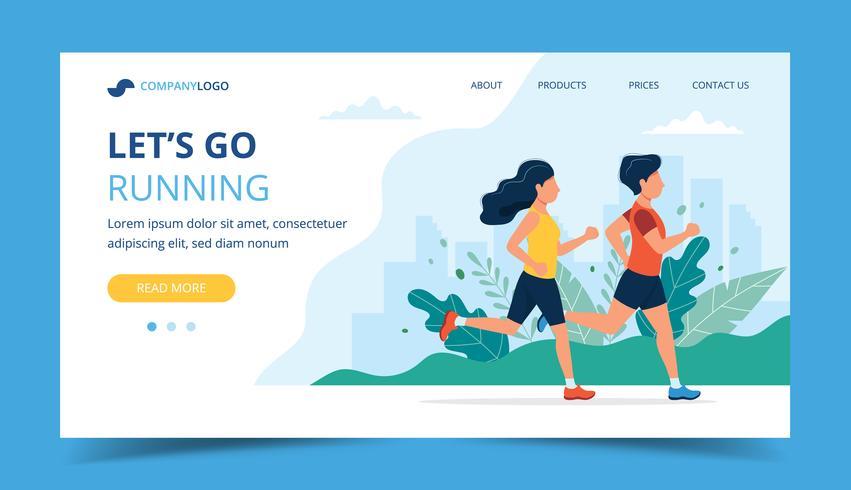 Executando o modelo de página de destino. Homem e mulher correndo no parque. Ilustração para maratona, cidade, treinamento, cardio