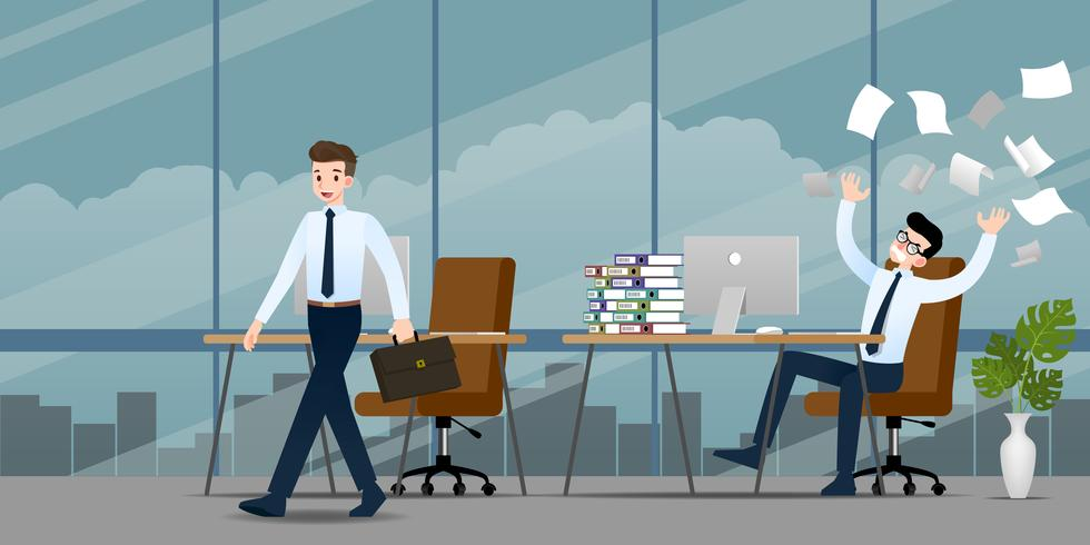 Businessman in different emotion. Two businessmen have contrast situation of work one can finished and going back home but the other one is very confused and busy. Illustration vector design.