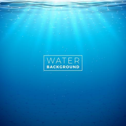 Plantilla azul subacuática del diseño del fondo del océano del vector. Ilustración de verano con escena de mar profundo para banner, flyer, invitación, folleto, cartel o tarjeta de felicitación. vector
