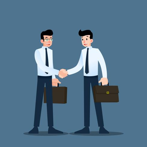Two Businessmen standing and shake hands each other for cooperation and make a deal. vector