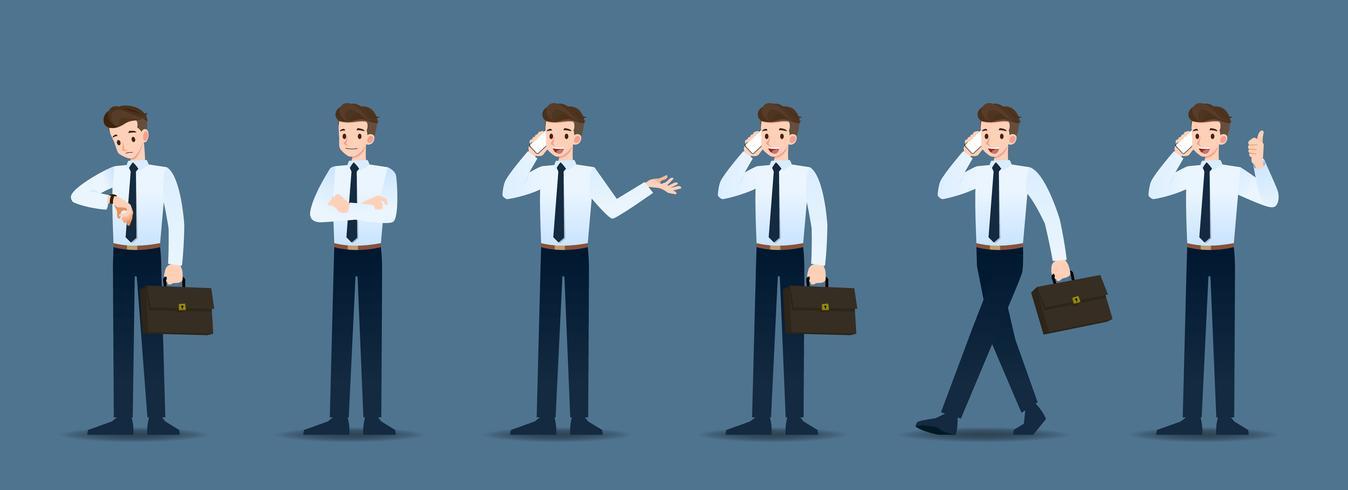 Conjunto de empresario en 6 gestos diferentes. La gente de carácter empresarial posa como esperar, comunicarse y tener éxito. Diseño de ilustración vectorial