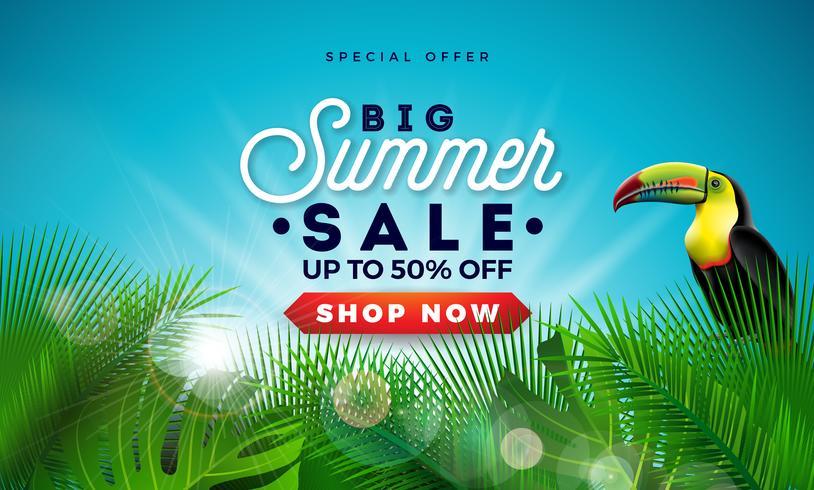 Sommerschlussverkauf-Design mit exotischen Palmblättern und Touvan-Vogel auf blauem Hintergrund. Tropische Vektor-Sonderangebot-Illustration