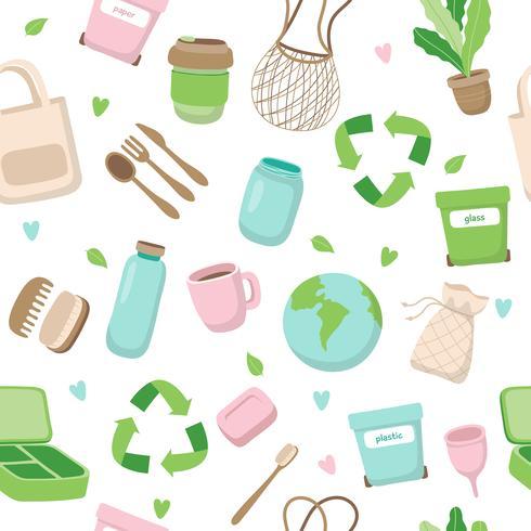 Zero desperdiçar o conceito padrão sem emenda com diferentes elementos. Estilo de vida sustentável, conceito ecológico.