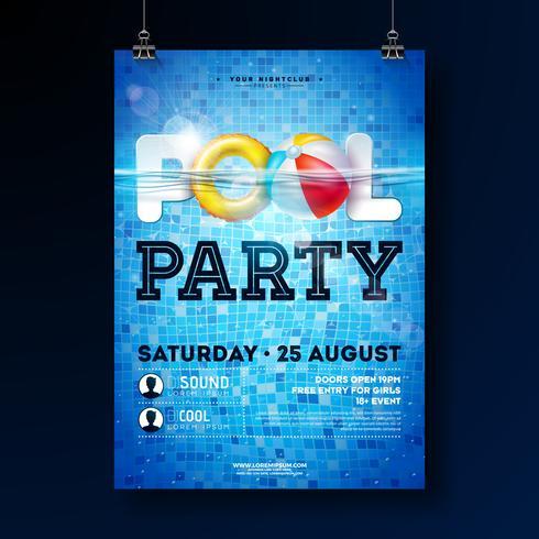 Plantilla del diseño del cartel de la fiesta en la piscina del verano con agua, la pelota de playa y el flotador en fondo tejado azul. Vector ilustración de vacaciones para banner, flyer, invitación, cartel.