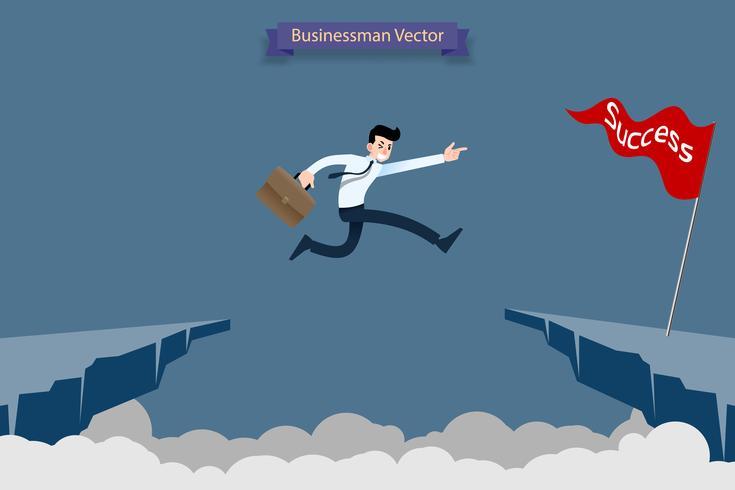 Oroliga modiga affärsman gör risk genom att hoppa över ravinen, klippan, chasm för att nå sin framgångsmålutmaning för sin karriär.