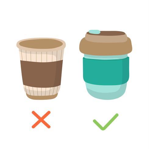Tasse à café réutilisable et gobelet jetable - illustration du concept zéro déchet. Mode de vie durable, réduire le plastique