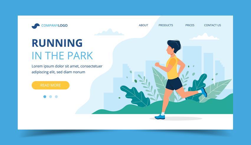 Executando o modelo de página de destino. Homem correndo no parque. Ilustração para maratona, city run, treinamento, cardio-exercício