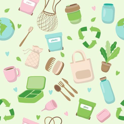 Cero concepto de residuos de patrones sin fisuras con diferentes elementos. Estilo de vida sostenible, concepto ecológico.