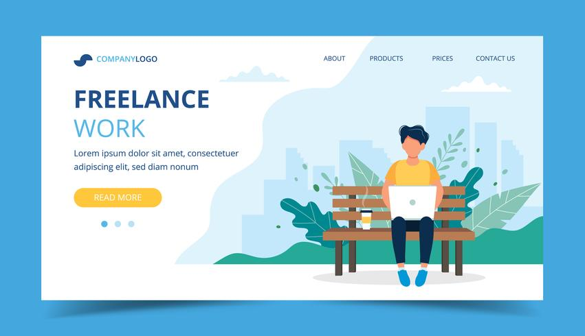Freelance work page template. Man working with laptop in the park. Illustration for freelancing, remote work, business. vector