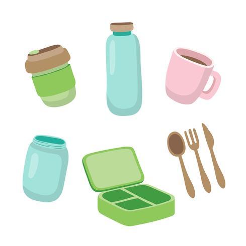 Set van ecologische items - herbruikbare koffiekop, glazen pot, houten bestek, lunchbox. Geen afvalconcept.