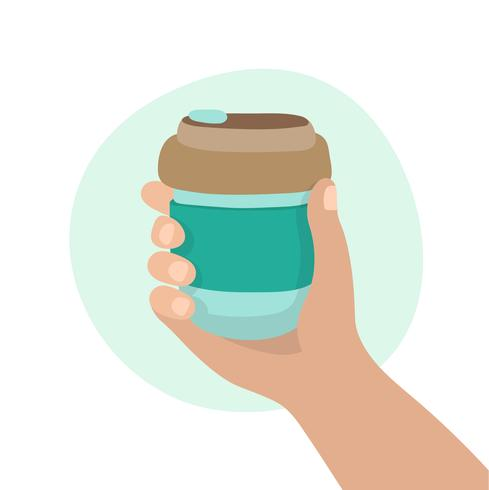 Copo de café reutilizável, mão segurando uma xícara. Estilo de vida sustentável, desperdício zero, conceito ecológico.