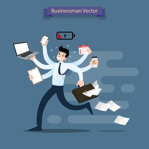 El hombre de negocios corre con muchas manos que sostienen el smartphone, el ordenador portátil, la cartera, la pila de papel, el calendario, el tablero y el café. Trabajador muy ocupado hace muchos trabajos al mismo tiempo. vector