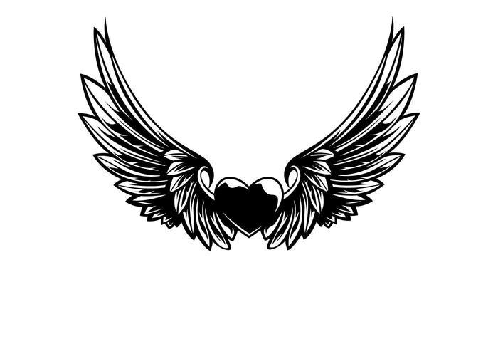 Asas e coração ilustração vetorial vetor